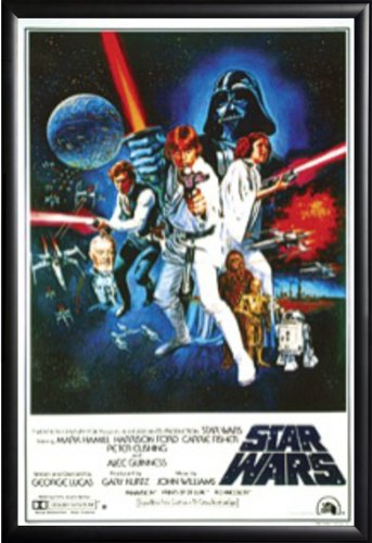 Star Wars: A New Hope Movie (Group, Credits) 24x36 Dry Mount Poster Matte Back Wood Framed