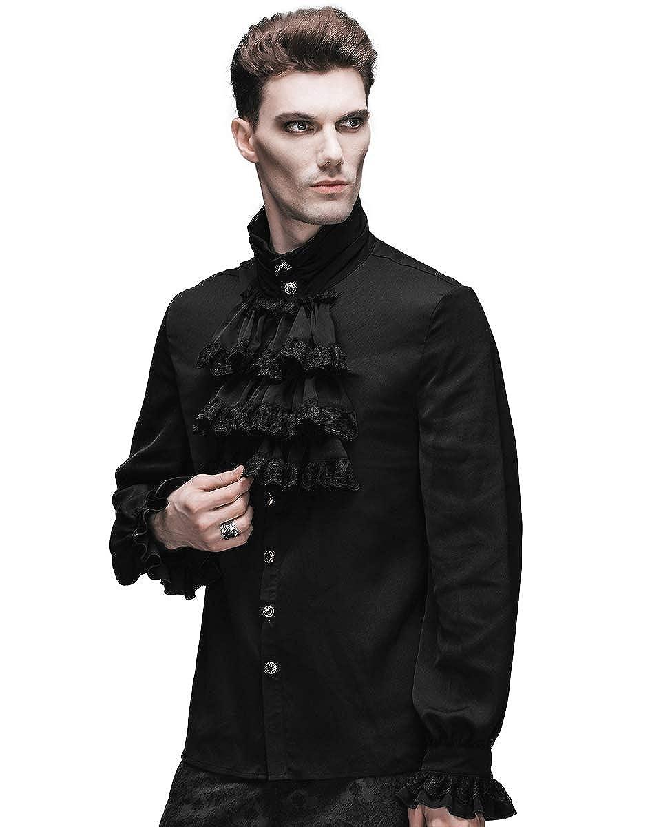 Devil Fashion Mens Shirt Top Black Gothic Steampunk Victorian Regency Aristocrat