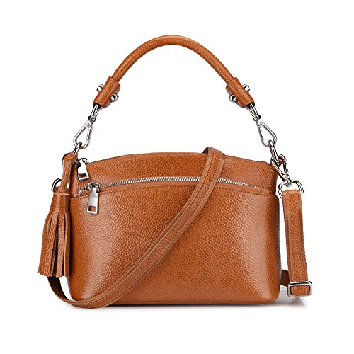 S-ZONE Women's Small Genuine Leather Multi Zipper Crossbody Bag Top-handle Handbag Shoulder Bag Satchel - Satchel Small Strap With