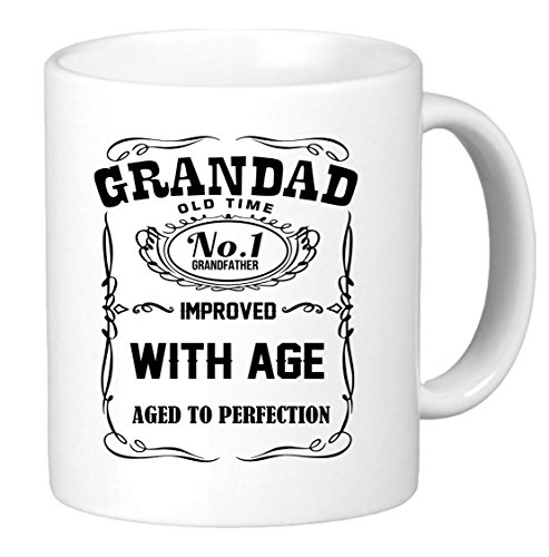 Grandad Improved With age. Aged to Perfection. 11oz funny coffee mug. Unique gift for dad, grandpa, papa or - Mug Grandad