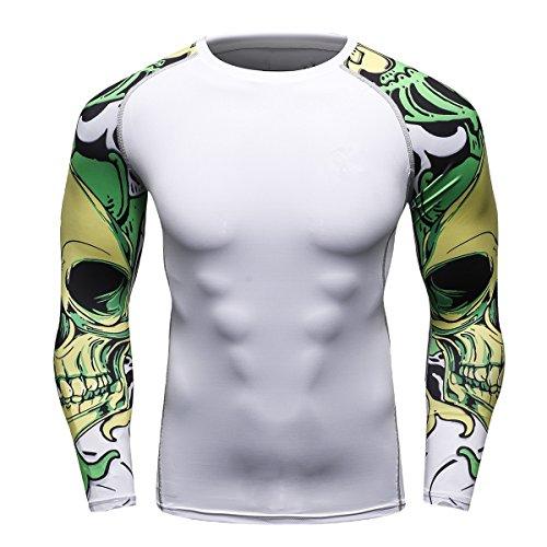 Fanii Quare Men's Soft Slim Long Sleeve Dry-Fit Compression Gym Trainning Shirt White 03 XL