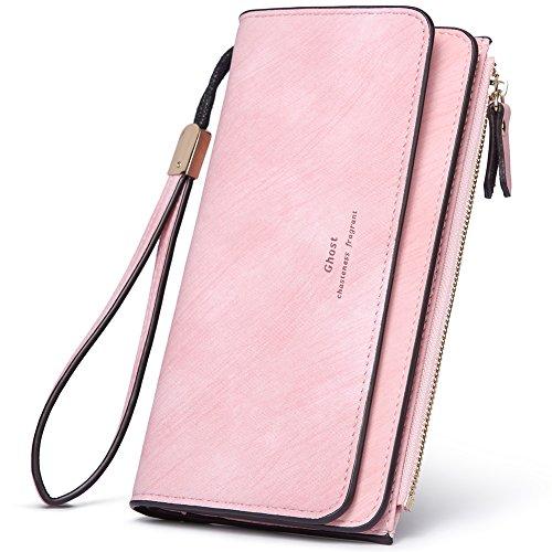 t PU Leather Clutch Purse Bifold Ladies Checkbook Multi Card Holder Organizer with Zipper Pocket pink ()