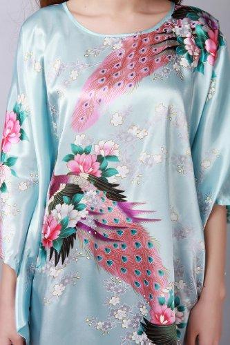 JTC Women's Kimono Robe Silk Dress Pajama Sleepwear 8 Colors (Light Green) by Jtc (Image #4)