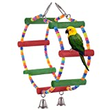 Yunt Pet Bird Parrot Parakeet Budgie Cockatiel Cage Hammock Swing Color Double Ring Stand Toy Hanging Funny Toy
