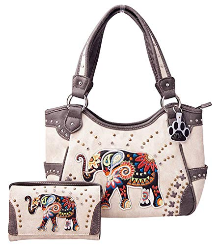 HW Collection Elephant Purse Concealed Carry Embroidered Western Handbag and Wallet Set (Beige) (Embroidered Lined Wallet)