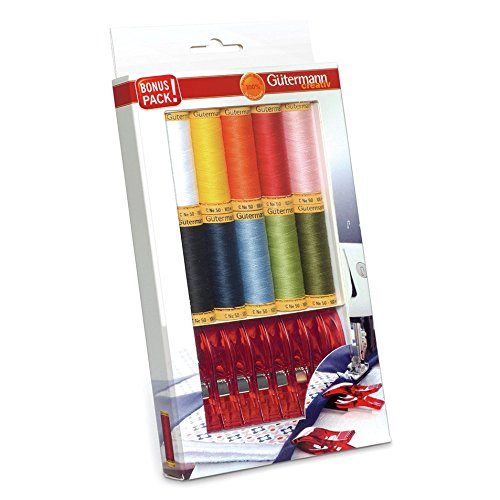 (Gutermann Colorful Cotton 50 Mercerized Quilting Thread Set 10 x 100m Reels with Wonder Clips )