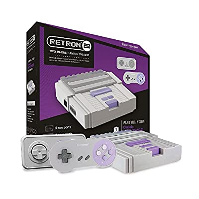 Hyperkin RetroN 2 SNES / NES Video Games Twin Console (Grey)