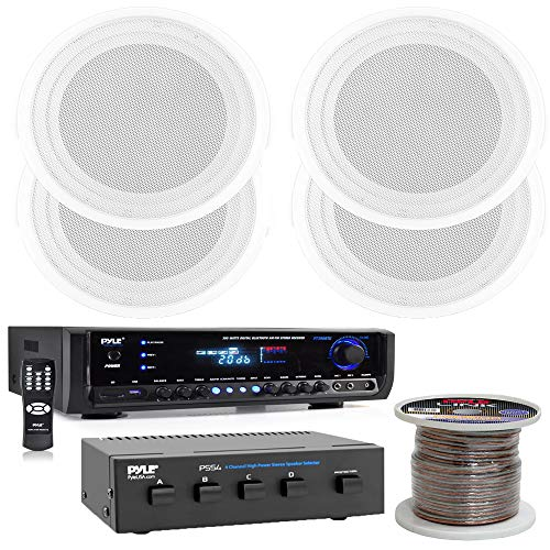 Pyle Digital Home Theater Bluetooth Stereo Receiver (4) 8'' Full Range Speaker Flush Mount Enclosure System with 100Ft Speaker Wire and 4 Ch. Speaker Selector