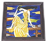 Ceramic Tile Art abstract Painting pictures ethnic dress women 14 x 14'' Handmade