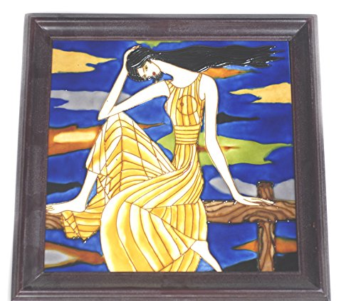Ceramic Tile Art abstract Painting pictures ethnic dress women 14 x 14'' Handmade by ShowJade (Image #1)