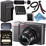 Panasonic Lumix DMC-ZS100 Digital Camera (Silver) DMCZS100S + DMW-BLG10 Lithium Ion Battery + External Rapid Charger + Sony 64GB SDXC Card + Small Case + Flexible Tripod Bundle For Sale