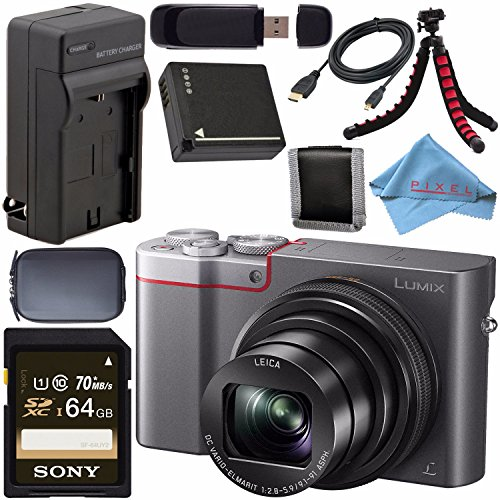 Panasonic Lumix DMC-ZS100 Digital Camera (Silver) DMCZS100S + DMW-BLG10 Lithium Ion Battery + External Rapid Charger + Sony 64GB SDXC Card + Small Case + Flexible Tripod Bundle
