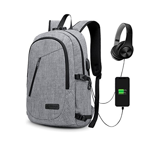 Anti-Theft Backpack, Theft Business Laptop Backpack with USB Charging Port and Earphone Port with Lock Slim Water Resistant Bag Daypack Fits 15.6 Inch Computer Notebook Rucksack for Work, College by S.K.L