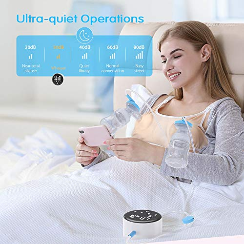516Aju37ybL - Electric Double Breast Pump Eccomum Breastfeeding Pump With 4 Modes & 9 Levels, Memory Function, BPA Free, Full Touchscreen LED Display, Strong Suction Power, Pain Free, Rechargeable, Ultra-Quiet