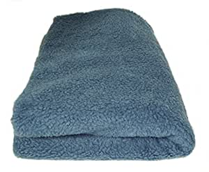 Deluxe Sherpa Fleece Lap Blanket - Blue - Double Layered - 150cm x 100cm
