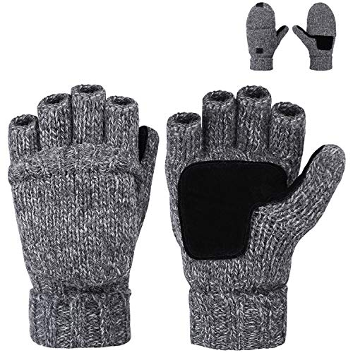 Maylisacc Winter Warm Mens Fingerless Gloves Wool Blend Snow Convertible Mittens for Men Driving Dark Grey