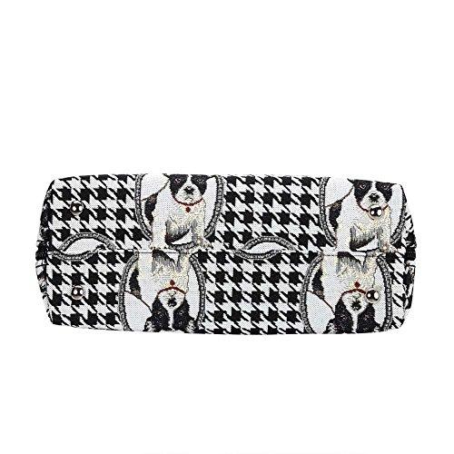 Borsa Signare a spalla convertibile in tessuto stile arazzo alla moda Bulldog francese