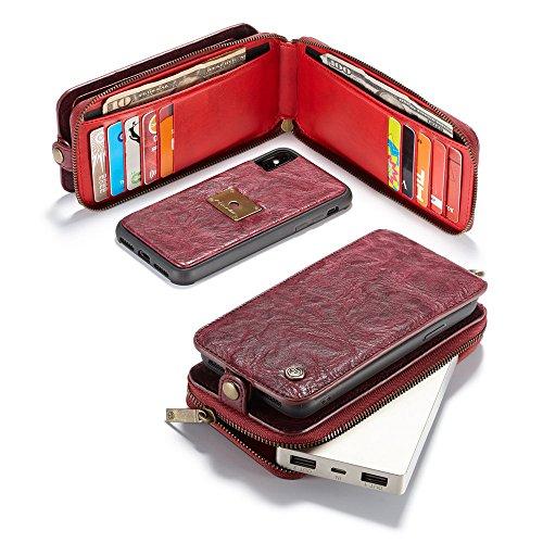 iPhone X Cordón de bolsillo de cremallera de gran capacidad de cuero Cartera de cuero caso con muñeca separable de 360 grados de protección Portatarjetas de embrague de lujo Caja para iPhone X - Negro rojo