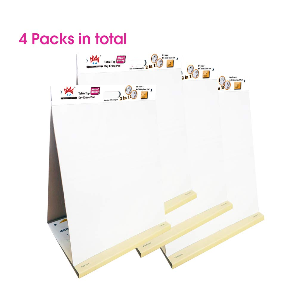 4 Packs 4A Super Sticky Table Top Dry Erase Pad 2 in 1,Meeting Pad,Portable White Premium Self Stick Paper,Built-in Easel Stand,Self-Stick Notes,20X23 Inches,Large Size,20 Sheets/Pad,4A Meeting-51 by AAAA 4A (Image #1)