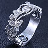Womens Fashion Jewelry 925 Silver White Topaz Wedding Engagement Ring Size6-9#by pimchanok shop (7)