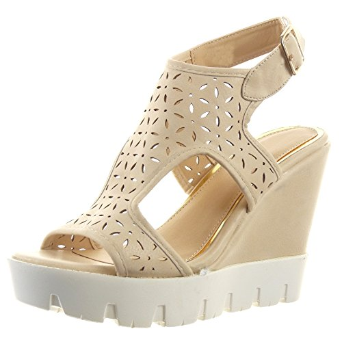 Sopily - Scarpe da Moda sandali scarpe decollete cinturino Zeppe alla caviglia donna Perforato fiori Tacco zeppa piattaforma 11 CM - Beige
