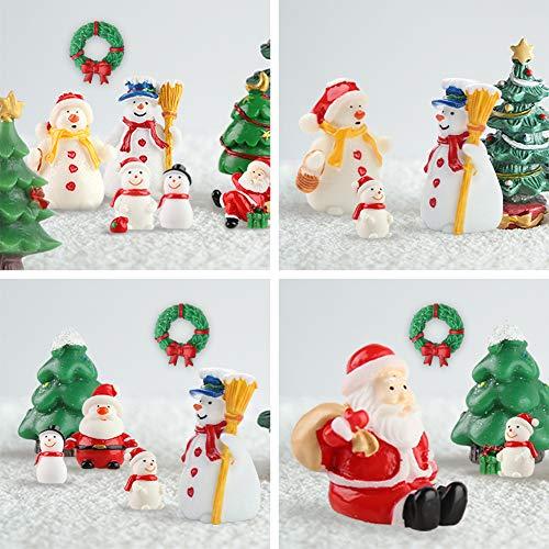 HAKACC Mini Christmas Ornaments, 15 PCS Miniature Christmas Figurines Decoration Ornaments DIY Kit for Garden Accessories Dollhouse Christmas Decoration
