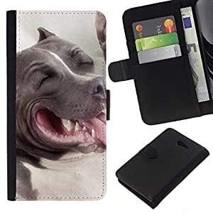 eJoy---La carpeta del tirón la caja de cuero de alta calidad de la PU Caso protector - Sony Xperia M2 - --American Pit Bull Terrier Dog