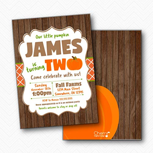 Our Little Pumpkin is Turning TWO Rustic Fall Birthday Party Invitations | Envelopes -
