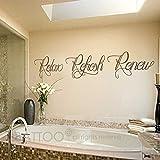 BATTOO Bathroom wall art - Bathroom Wall Decal - Relax Refresh Renew - spa wall decal - bath wall decal - bathroom decor - bathroom wall sticker(dark brown, 30'' WX5.5 H)