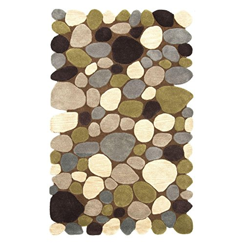 NuLoom Pebbles Contemporary Handmade Wool Pebbles Cobblestone 5 Foot x 8 Foot Wool Area Rug, Brown