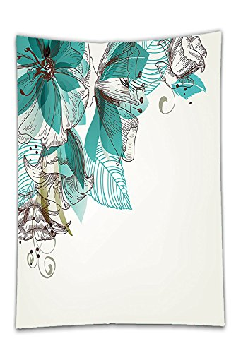 Interestlee Satin drill Tablecloth?Turquoise Decor Flowers Buds Leaf At The Top Left Corner Retro Art Festive Season Celebrating Theme Dining Room Kitchen Rectangular Table Cover Home ()