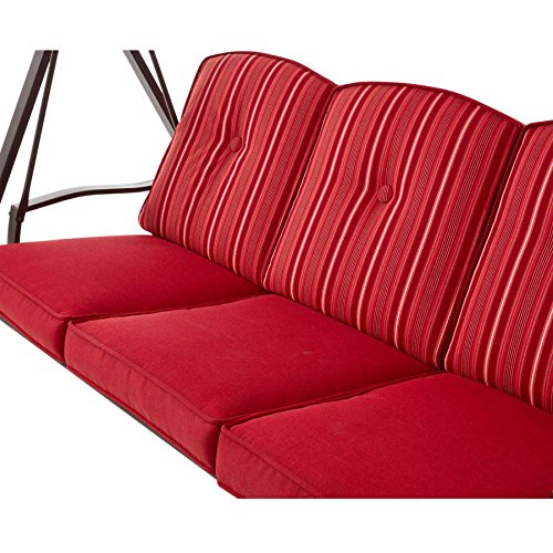 Mainstays Forest Hills 3-Seat Cushion Swing, Red