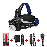 #2: Amerzam LED Headlamp, Water-resistant& lightweight Camping outdoor sports Headlight with usb Cable