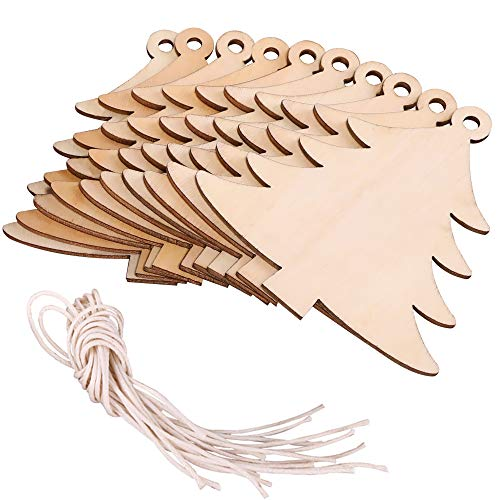 click-me 20Pcs Christmas Wooden Christmas Tree Ornaments Hanging Cutouts Unfinished Wood Slice for Kids Crafts Wedding DIY Christmas Tree Decoration with Strings (Christmas Tree)