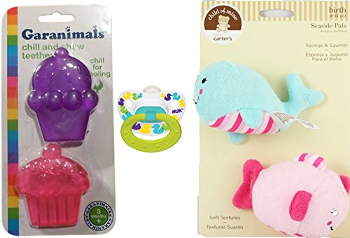 NUK 0-6M Orthodontic Pacifier, Bath Sponge & Squirter, and Set of 2 Assorted Chill & Chew Teethers (Infant Sassy Toy Bath)