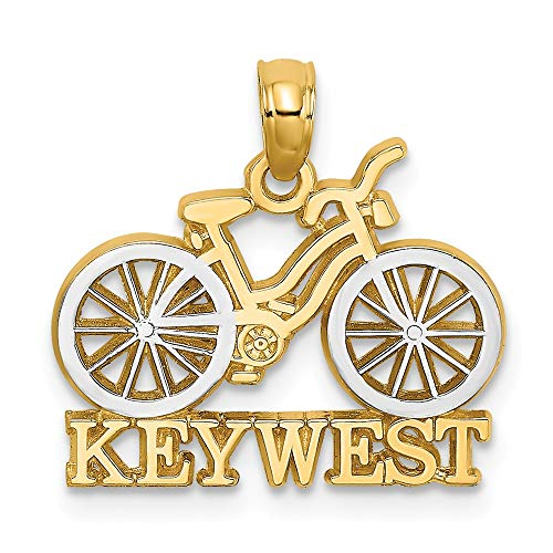 14k Yellow Gold Rhod Key West Under Bicycle White Tires Necklace Pendant Charm Religious Travel Transportation Fine Jewelry Gifts For Women For Her