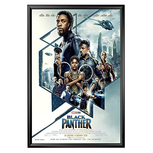 SnapeZo Movie Poster Black Frame 27x40 Inches, 1.2 Inch Aluminum Profile, Front-Loading Snap Frame, Wall Mounting, Premium Series for One Sheet Movie -