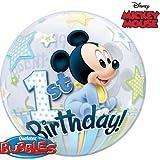 Qualatex Mickey Mouse 1st Birthday, 22 inch Single Bubble Balloon