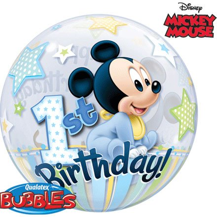 Qualatex Mickey Mouse 1st Birthday, 22 inch Single Bubble Balloon -