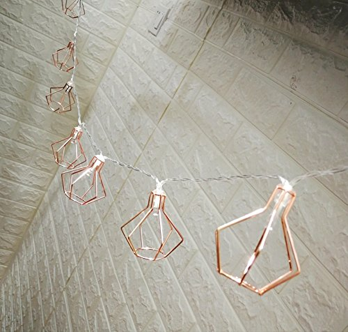 Rose Gold Diamond Metal Boho 5Ft LED Lantern String Lights Battery Powered Bedroom Fairy Lights  ...
