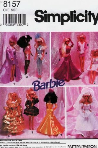 SIMPLICITY 8157 BARBIE PATTERN ~ EVENING WARDROBE FOR BARBIE DOLL by Simplicity Doll Wardrobe Simplicity Patterns