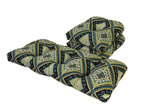 (Tempo Outdoor Spanish Tile Blue and Green 3 Piece Cushion Set)