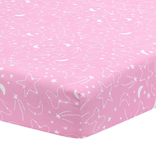 Lambs & Ivy Disney Baby Minnie Mouse Celestial Fitted Crib Sheet, Pink