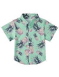 Enlifety Kids Boys Summer Button Down Shirt Hawaiian Aloha Holiday Short Sleeve Dress Shirts Tops 2-14 Years …