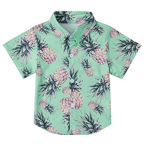 3 Years Comfotable Hawaiian Pineapple Shirts Boys Cute Allover Print Beach Aloha Party Camp Short Sleeve Holiday Dress Shirts for Teen Boys 3-4T (Hawaiian Boys)