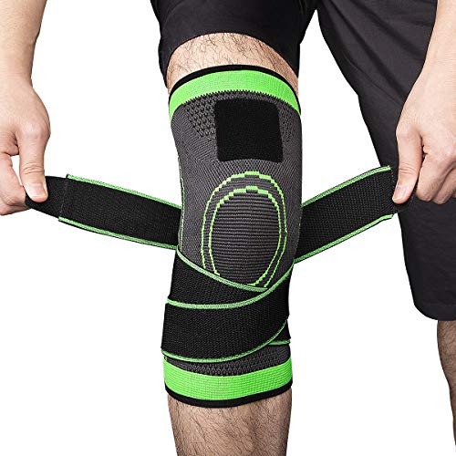 iGK Knee Brace Compression Knee Sleeve with Adjustable Strap Knee Support & Pain Relief for Sport, Running, Hiking, Soccer, Basketball for Meniscus Tear Arthritis ACL Single Wrap-XLarge