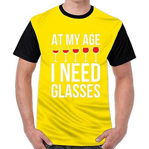 dextrad At My Age I Need Wine Glasses Mens Casual O-Neck T Shirt Top Blouse Shirt Yellow