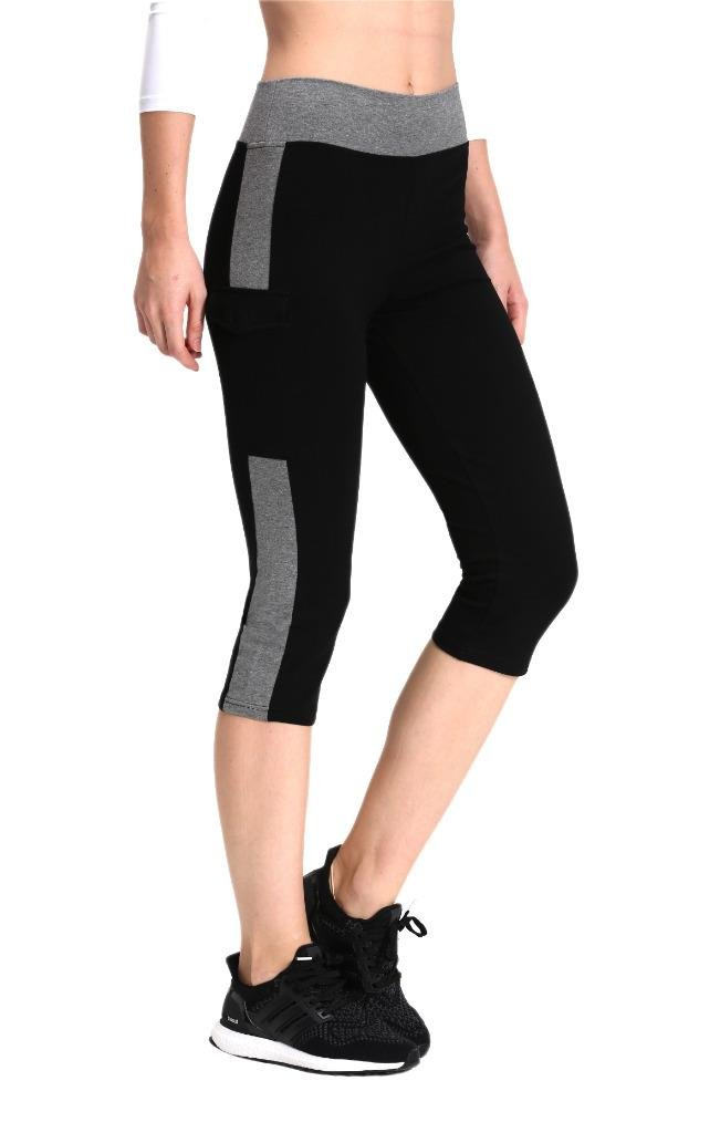 Neonysweets Womens Yoga Capri Tights Running Fitness Pants Leggings Black Gray M
