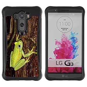 Híbridos estuche rígido plástico de protección con soporte para el LG G3 2014 Smart Phone - green tree bark nature forest