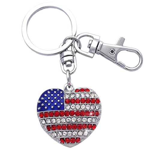 4th of July American USA Flag Heart Charm Keychain Key Ring Holder